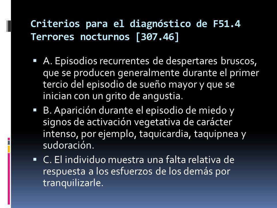 Criterios para el diagnóstico de F51.4 Terrores nocturnos [307.46]